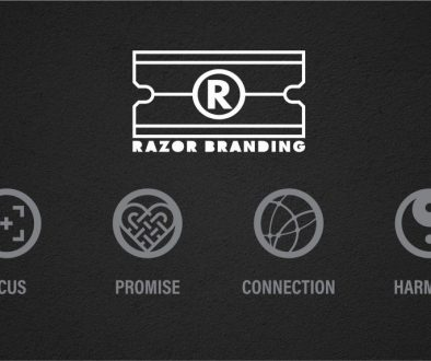 Razor Branding logo and graphic depicting the four core elements: Focus, Promise, Connection and Harmony